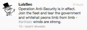 Tekst: Operation Anti-Security is in effect. Join the fleet and tear the government and whitehat peons limb from limb - #antisec winds are strong.