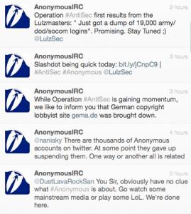 Posnetek zaslona pozivov hekerske skupine Anonymous
