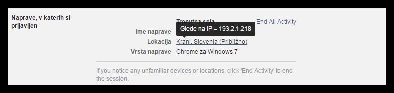 IP naslov aktivne seje