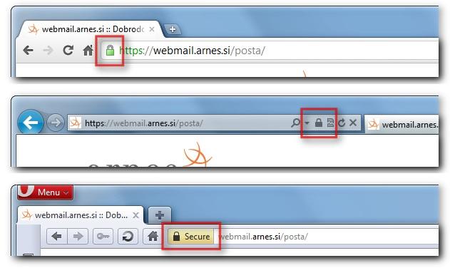Zaslon, ki prikazuje, kje poiščemo znak zaklenjene ključavnice v URL vrstici