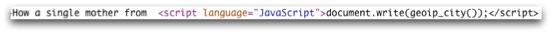Izvleček kode, iz katerega je razvidno, da se oglas prilagodi glede na lokacijo uporabnika