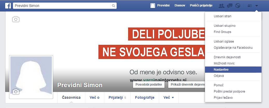 Zaslon, ki prikazuje Facebook profil