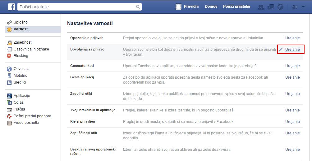 Zaslon, ki prikazuje Facebook meni - zavihek varnost