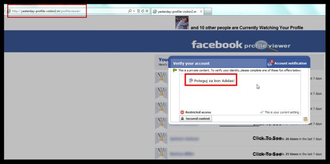 Zaslon, ki prikazuje preusmeritev na lažno Facebook stran