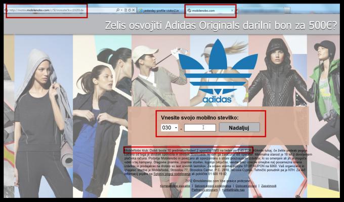 Spletna stran, ki nas želi zvabiti v SMS klub pod pretvezo, da delijo Adidas bone za 500 evrov