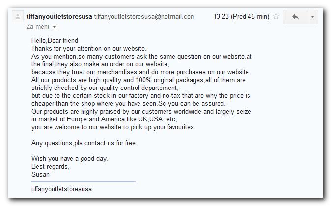 Elektronsko sporočilo iz ene izmed Tiffany trgovin.