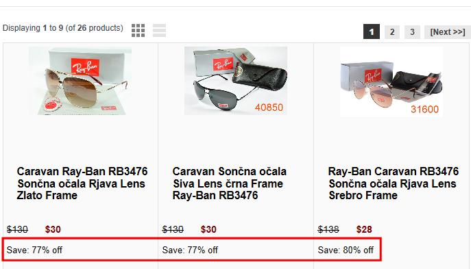 Lažna spletna trgovina z Ray-Ban izdelki z neverjetno nizkimi cenami