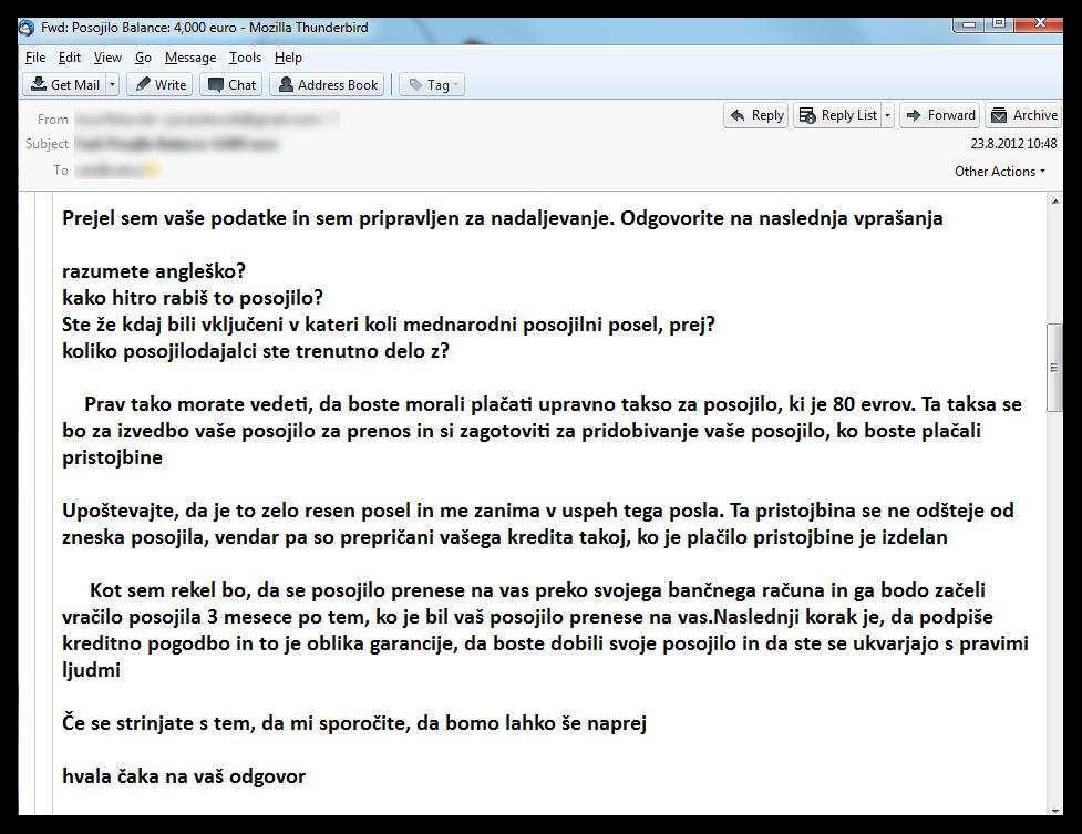 Primer elektronskega sporočila, ki ga pošljejo goljufi