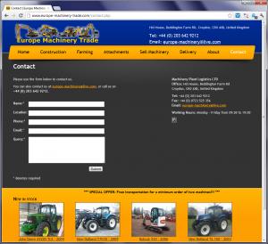 Spletna stran podjetja s kontaktnimi podatki in obrazcem