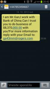 Primer spam SMS sporočila.