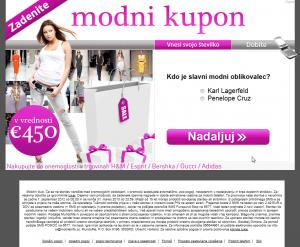 Zaslon, ki prikazuje lažen modni kupon, za katerega moramo odgovoriti na vprašanje in vpisati svojo telefonsko številko