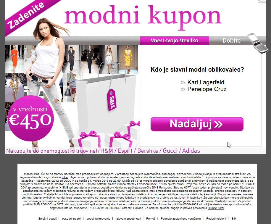 Vaba v SMS klub pod pretvezo bona za nakupovanje v vrednosti 450 evrov.