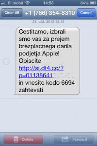 Primer enega izmed sumljivih SMS sporočil.