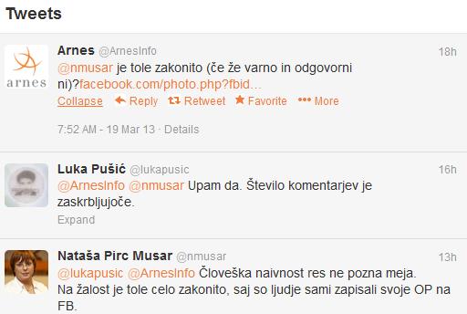 Zaslon s Tweeti med Arnesom in odgovorom IP
