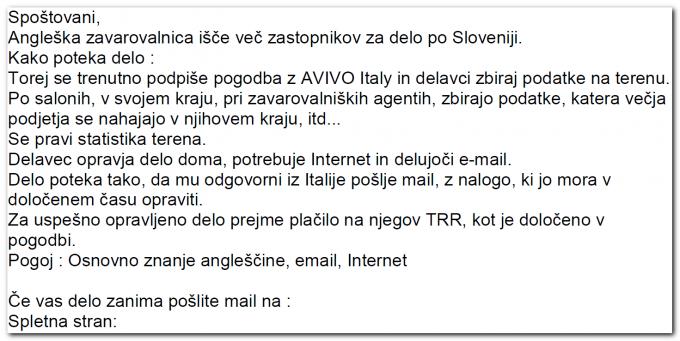 Primer oglasa, ki ga je slovenska kriminalna združba uporabljala za novačenje denarnih mul