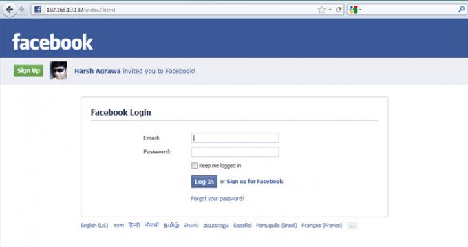 Zaslon, ki prikazuje lažno Facebook stran, ki nam želi ukrasti podatke