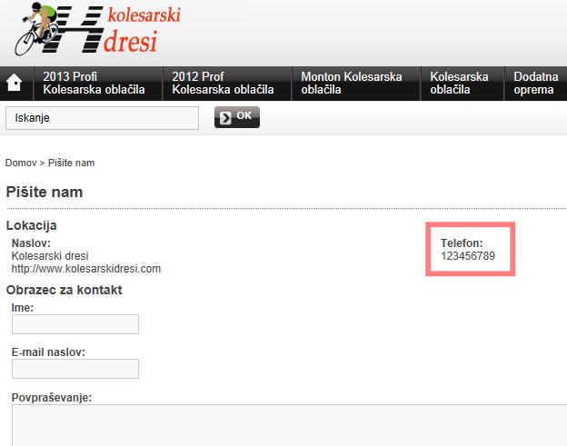 Primer lažne telefonske številke c lažni spletni trgovini
