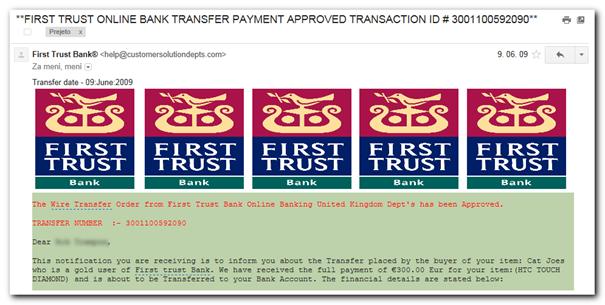Primer lažnega sporočila »banke«. Že sama grafika nakazuje, da gre za amatersko narejen ponaredek.
