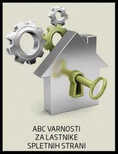 Grafika prikazuje naslovnico priročnika ABC varnosti za lastnike spletnih strani