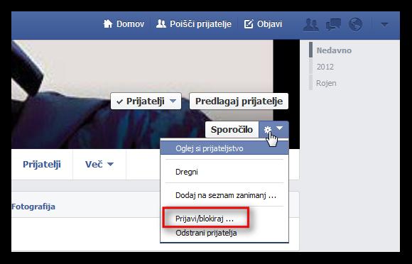 Slika Facebook časovnice, kjer prijavimo profil