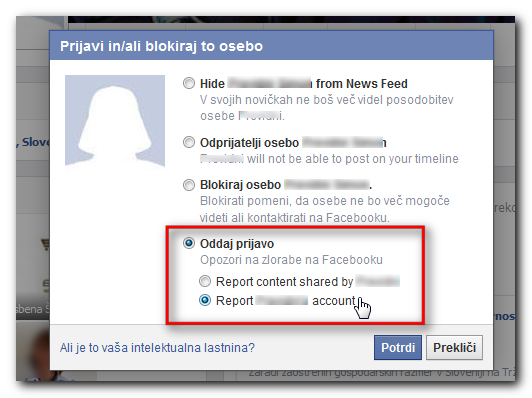 Slika Facebook pojavnega okna, kjer oddamo prijavo
