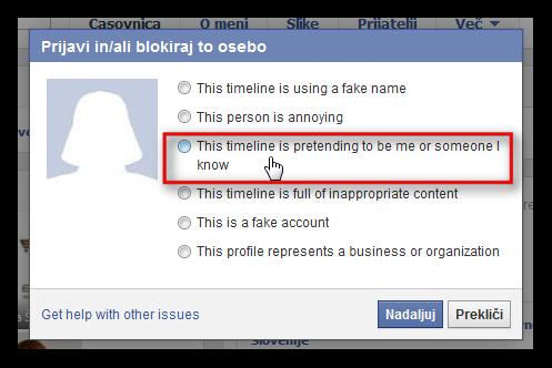 Pojavno okno Facebooka, kjer označimo, da se oseba predstavlja v našem imenu