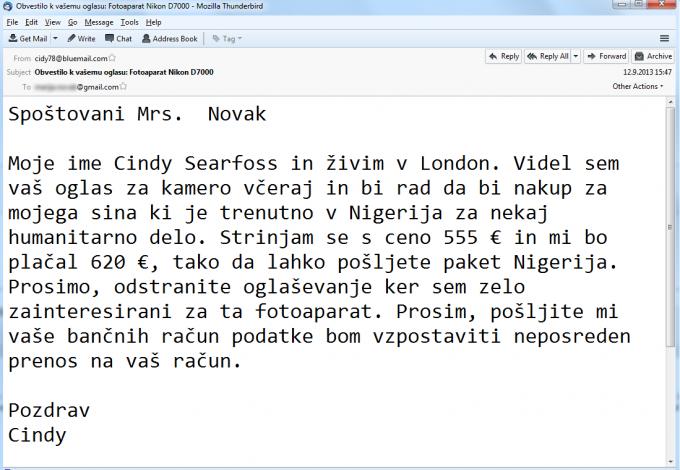 Primer prevarantskega elektronskega sporočila