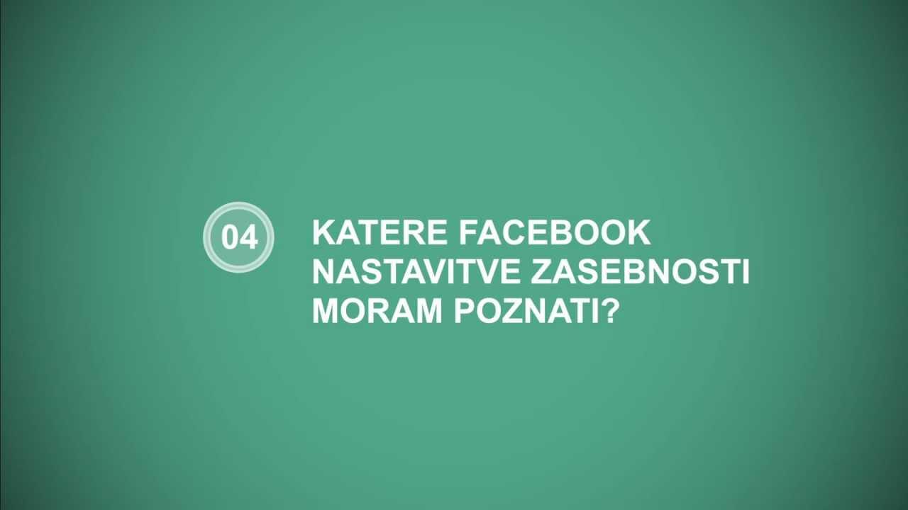 """Napis Katere Facebook nastavitve zasebnosti moram poznati"""" na zelenem ozadju"""