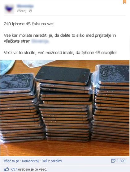Primer lažne nagradne igre na Facebooku, kjer obljubljajo, da bodo podelili nov iPhone.