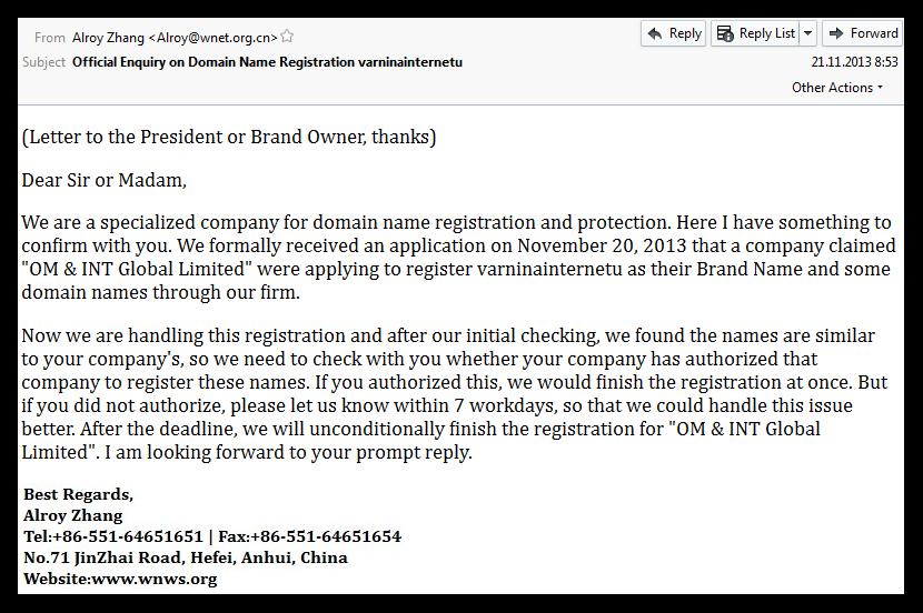 Elektronsko sporočilo, ki prikazuje poslovno ponudbo za nakup domene