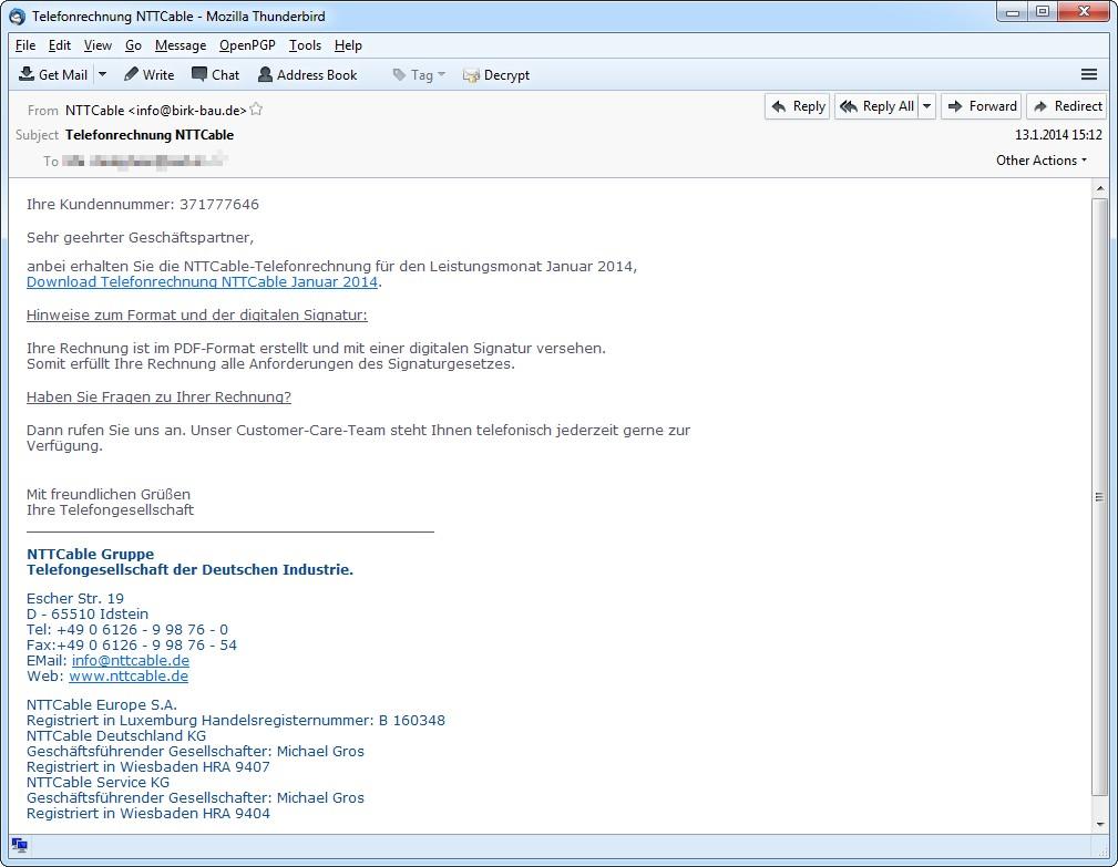 Primer lažnega računa NTTCable
