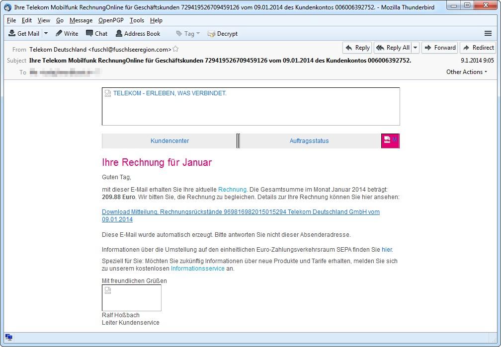 Primer lažnega računa Telekom