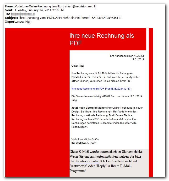 Primer lažnega računa Vodafone