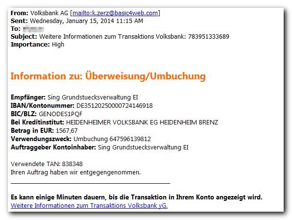 Primer lažnega računa Volksbank