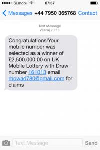 SMS sporočilo, ki obljublja 2,5 mio GBP.