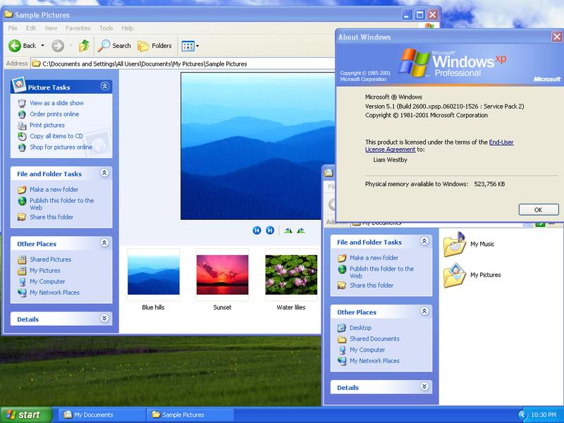Zaslon operacijskega sistema Windows XP z različnimi odprtimi aplikacijami