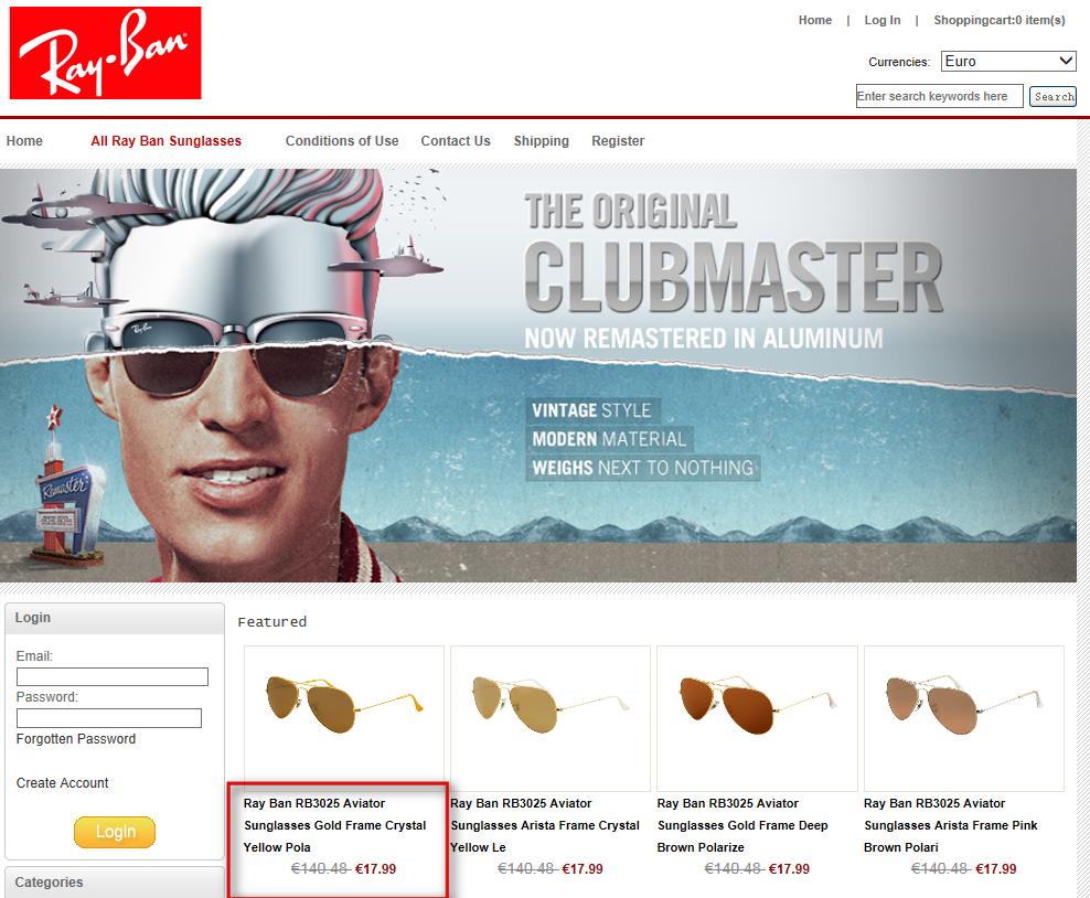 Primer lažne spletne trgovine z Ray-Ban izdelki