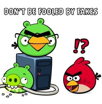 """Slika karakterjev igre """"Angry birds"""" z napisom: """"Don't be fooled by fakes""""."""