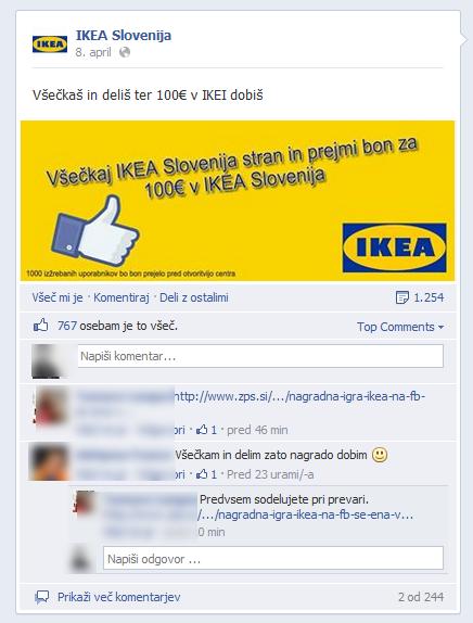 Lažna nagradna igra za Ikea bon