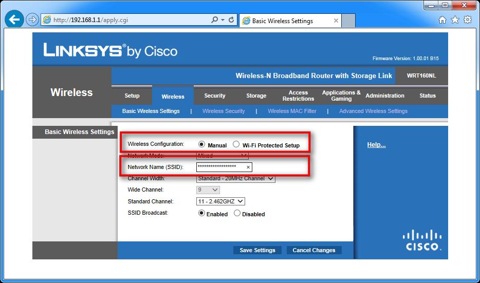 Zaslon, ki prikazuje, kako izklopite WPS in določite SSID
