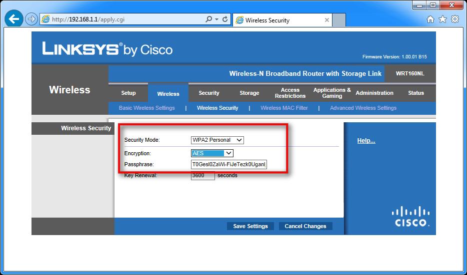 Zaslon, ki prikazuje, kako določite WPA2, kodiranje AES in geslo za dostop do brezžičnega omrežja