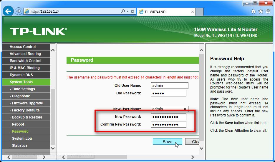 Zaslon, ki prikazuje, kako zamenjati geslo za router TP-LINK