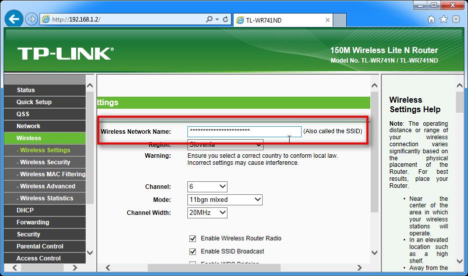 Zason, ki prikazuje, kako določiti SSID za router TP-LINK