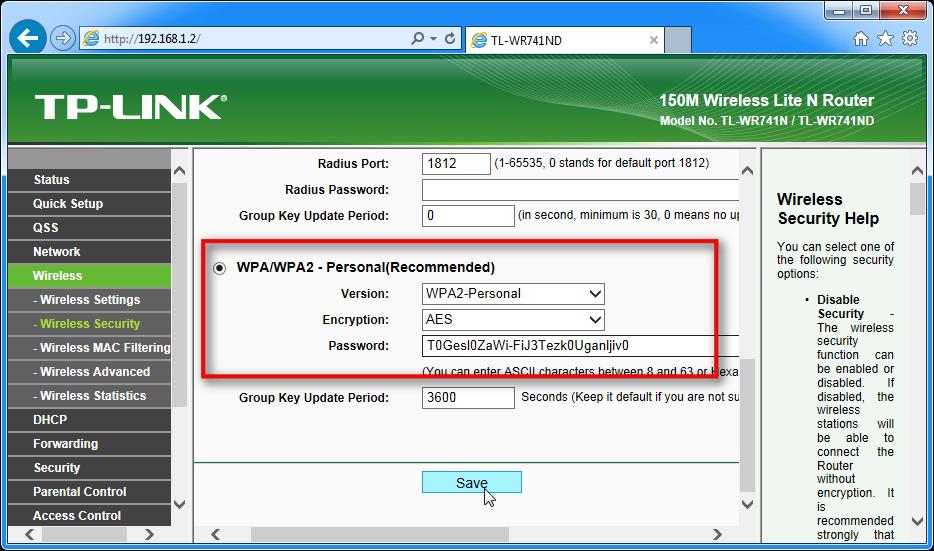 Zason, ki prikazuje, kako določiti WPA2, kodiranje AES in geslo za brezžično omrežje za router TP-LINK
