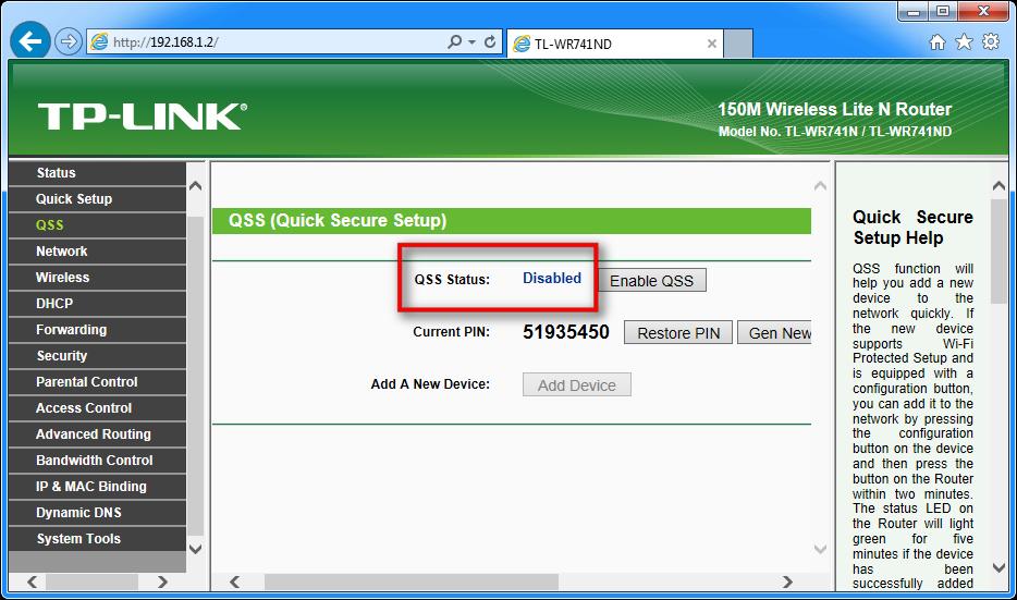 Zason, ki prikazuje, kako določiti izklopiti QSS za router TP-LINK