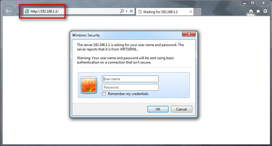 Zaslon, ki prikazuje okence za vpis IP naslova v brskalnik