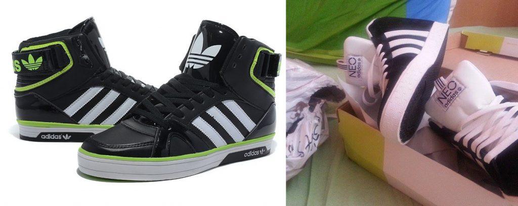 Primer pravih in ponarejenih Adidas športnih copat