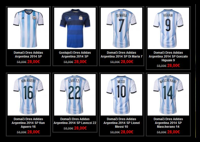 Primer lažne spletne trgovine z nogometnimi dresi