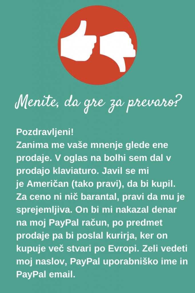 Grafika z vprašanjem uporabnika glede morebitne prevare na Bolhi