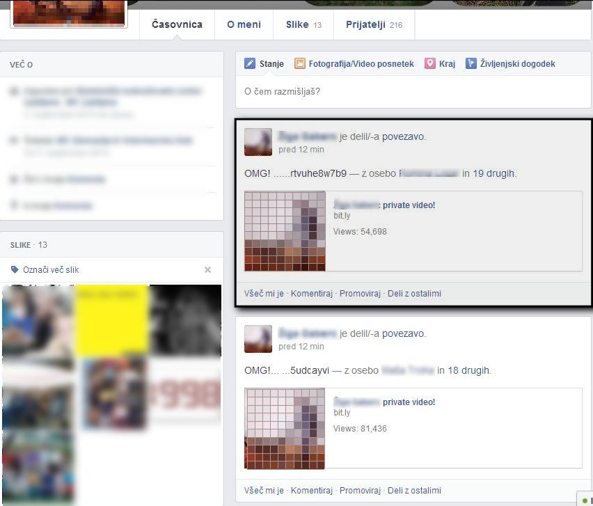 Zaslon, ki prikazuje, kako izgleda okužena Facebook časovnica